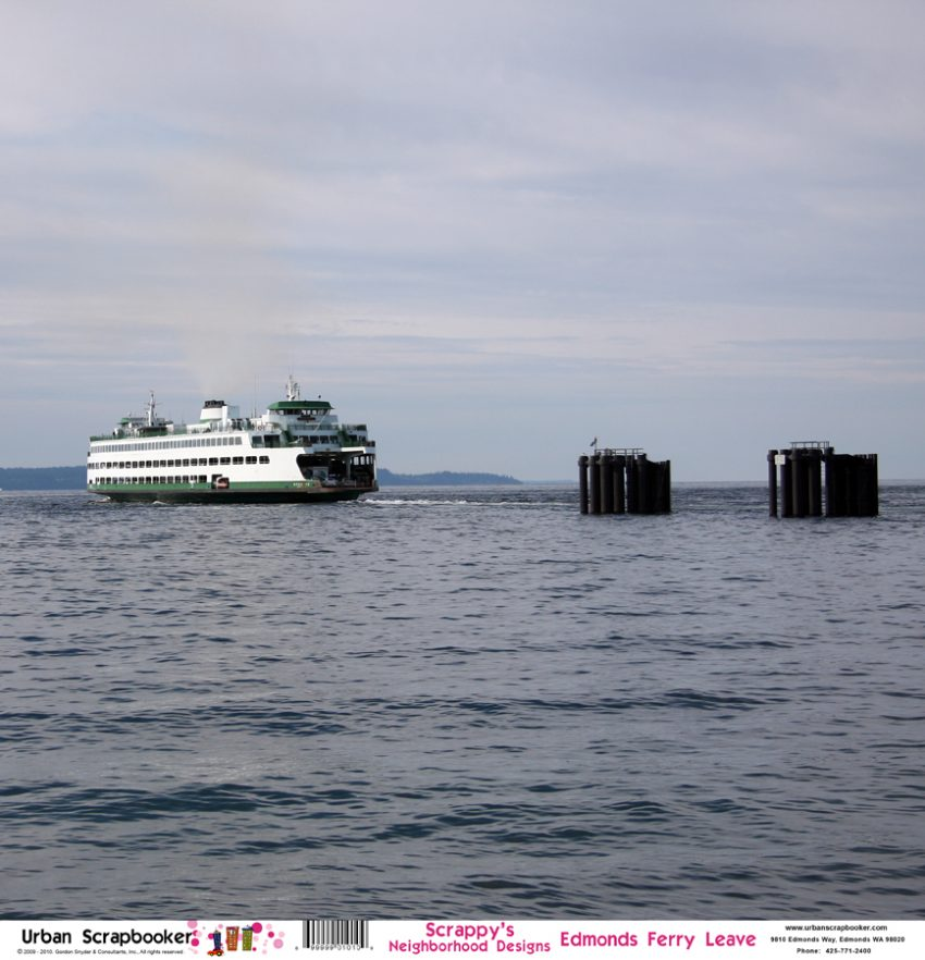 Washington Ferry Leaving  Scrapbook Paper 12 x 12 inch