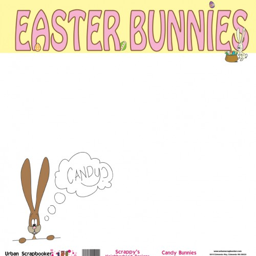 Candy Bunnies  Scrapbook Paper 12 x 12 inch