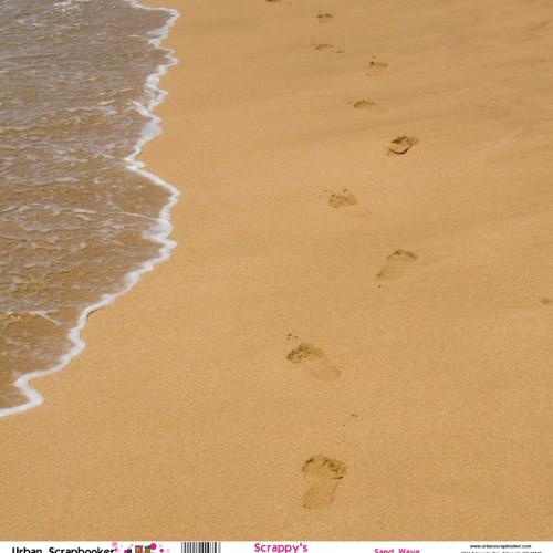 Sand Waves Footprints Scrapbook Paper 12 x 12 inch