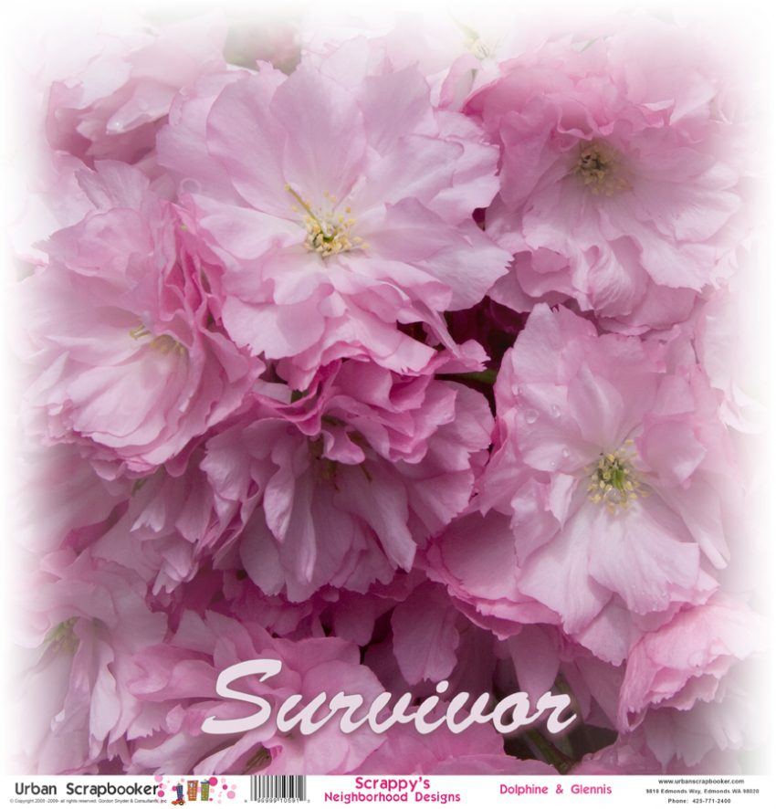 Cancer Survivor Blossoms  Scrapbook Paper 12 x 12 inch