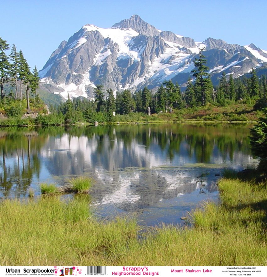 Mount Shuksan Lake Scrapbook Paper 12 x 12 inch