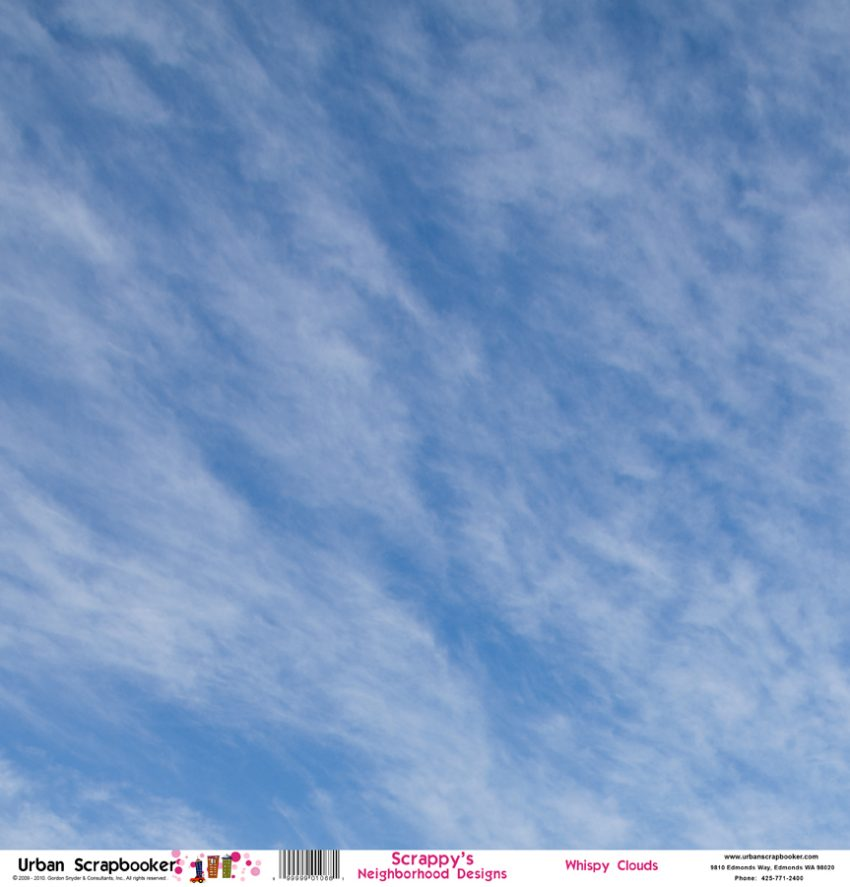 Whispy Clouds Scrapbook Paper 12 x 12 inch