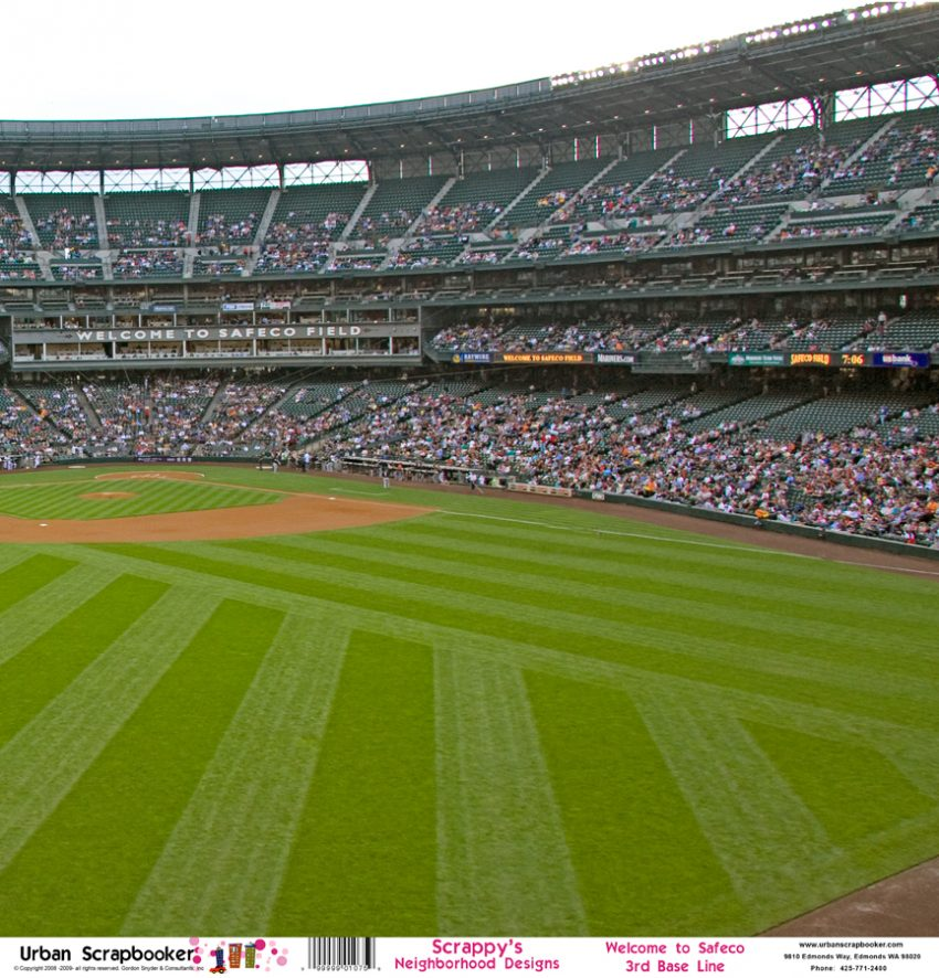 Safeco Field Baseball View Right Scrapbook Paper 12 x 12 inch