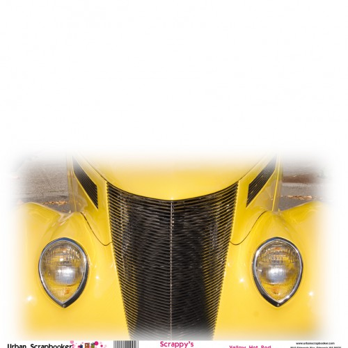 Yellow Hot Rod  Scrapbook Paper 12 x 12 inch