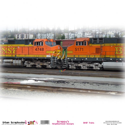 BNSF Trains  Scrapbook Paper 12 x 12 inch