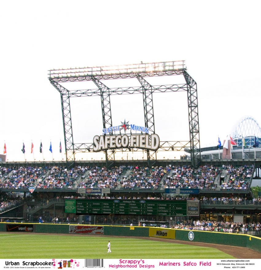 Seattle Mariners Safeco Field  Scrapbook Paper 12 x 12 inch