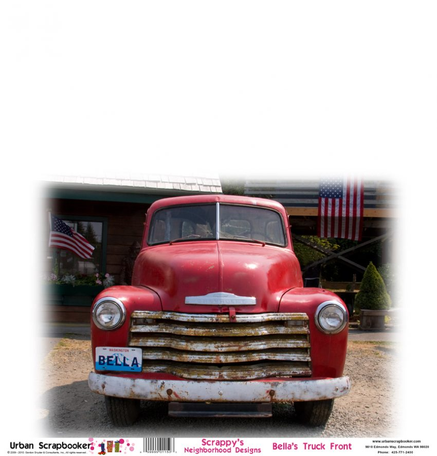 Old Red Truck Front  Scrapbook Paper 12 x 12 inch
