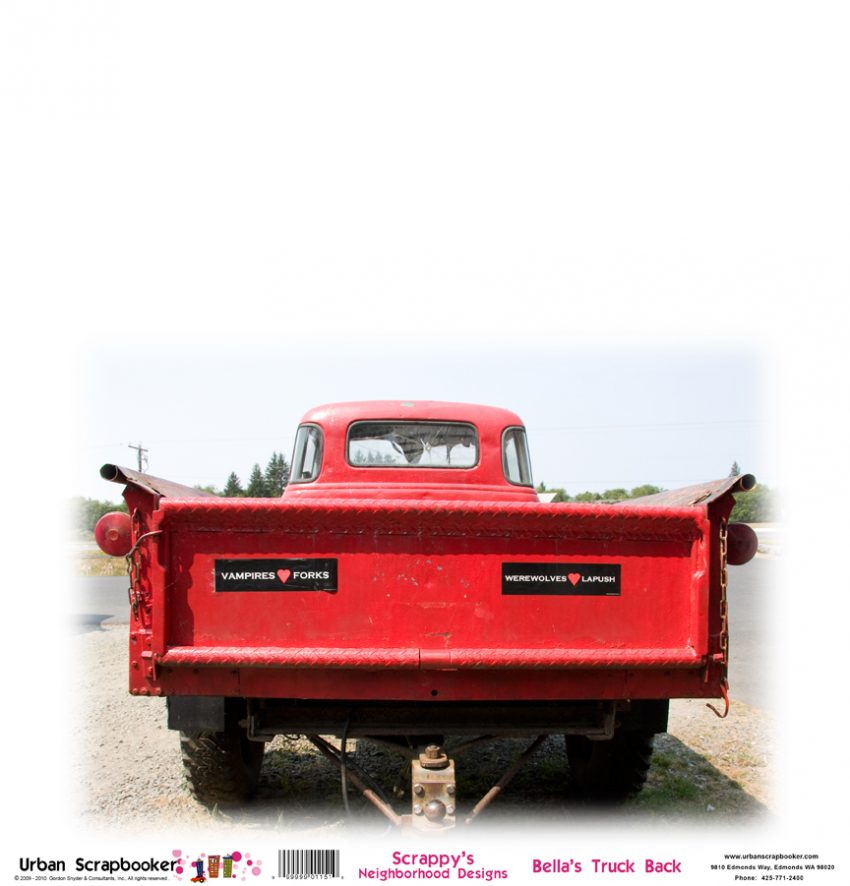 Old Red Truck Rear Scrapbook Paper 12 x 12 inch
