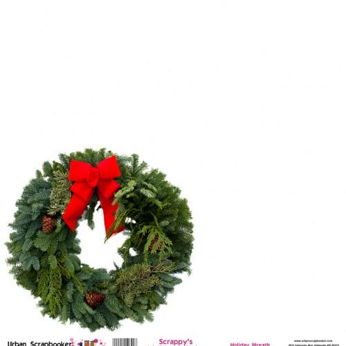 Holiday Wreath  Scrapbook Paper 12 x 12 inch