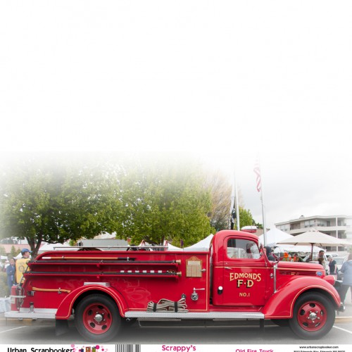 Old Fire Truck  Scrapbook Paper 12 x 12 inch