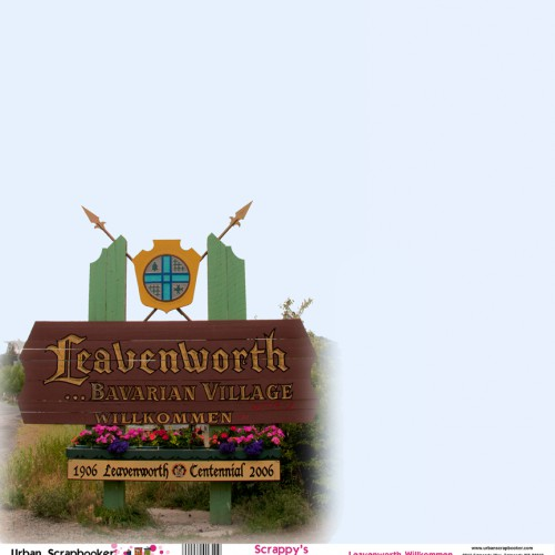 Leavenworth Welcome Sign  Scrapbook Paper 12 x 12 inch