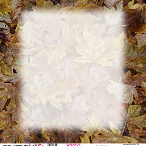 Gold Fall Leaves  Scrapbook Paper 12 x 12 inch