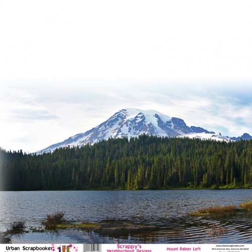 Mount Rainier View Left  Scrapbook Paper 12 x 12 inch