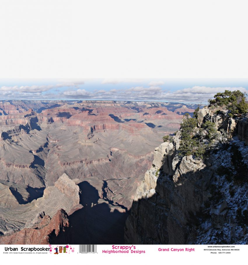 Grand Canyon View Right  Scrapbook Paper 12 x 12 inch